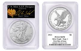 2021 $1 Silver Eagle MS70 PCGS Type 2 FDOI Paul Balan