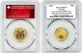 2021 $20 Reverse Proof Canada Gold Coat of Arms  PR70 PCGS First Strike S Blunt