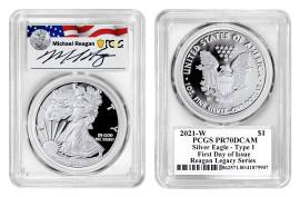 2021-W $1 Proof Silver Eagle PR70 PCGS FDOI Reagan Legacy Series Michael Reagan
