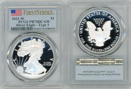 2021-W $1 Proof Silver Eagle PR70 PCGS T-1 Flag First Strike