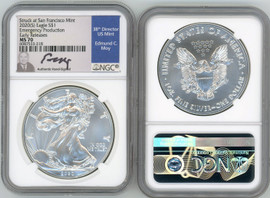2020 (S) ASE MS70 NGC Struck at San Francisco Mint Emergency Production Early Releases Ed Moy signed