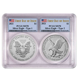 2021 2-Coin slab Silver Eagle Type 1 & 2 MS70 PCGS flag First Day of Issue