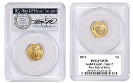 2021 $5 Gold Eagle MS70 PCGS Type 2 FDOI T Cleveland wreath
