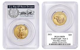 2021 $10 Gold Eagle MS70 PCGS Type 2 FDOI T Cleveland wreath