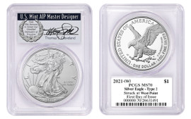2021-(W) ASE MS70 PCGS Type 2 Struck at West Point FDOI T. Cleveland wreath