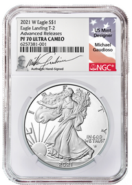 2021 W ASE Eagle Landing T-2 PF70 NGC Ultra Cameo Advanced Releases M. Gaudioso