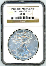 2011 W Burn ASE MS70 NGC Eagle 25th Anniversary brown label