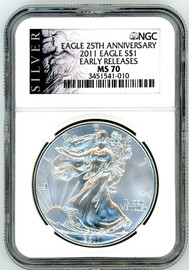 2011 Silver Eagle MS70 NGC Early Releases Eagle 25th Anniversary Silver label