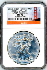 2011 (S) ASE MS70 NGC Early Releases Struck at San Francisco Mint bridge label