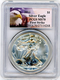 2013 ASE MS70 PCGS First Strike eagle flag label