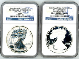2012 S ASE 2-coin Rev. PF/PF69 NGC Ultra Cameo San Francisco Eagle Set Early Release label