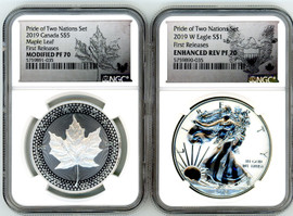 2019 Pride of Two Nations Set US Set, Modified PF70 $5 ML & Enhanced Rev PF70 ASE NGC First Releases maple leaf and silver eagle label