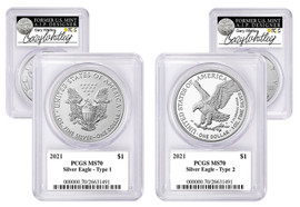 2021 ASE MS70 PCGS 2-coin Set Type 1 & Type 2 Gary Whitley