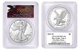 2021-W Proof Silver Eagle PR70 PCGS Type 2 FDOI T Cleveland angry eagle