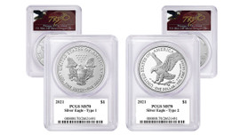 2021 ASE MS70 PCGS 2-coin Set Type 1 & Type 2 T Cleveland Angry Eagle