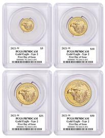 2021-W 4-coin Proof Gold Eagle Set ($5, 10, 25, 50) PR70 PCGS Type 2 FDOI T. Cleveland blue eagle