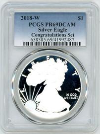 2018-W $1 Proof Silver Eagle PR69 PCGS Congratulations Set blue label