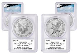 2021 W&S ASE 2-Coin Designer Set Reverse PR70 PCGS FDOI  T. Cleveland blue eagle