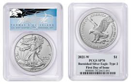 2021-W $1 Burnished Silver Eagle SP70 PCGS FDOI Type 2 T Cleveland Blue Eagle