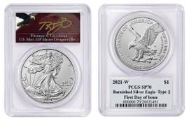 2021-W $1 Burnished Silver Eagle SP70 PCGS FDOI Type 2 T Cleveland Angry Eagle