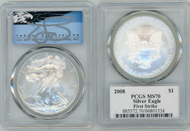 2008 ASE MS70 PCGS First Strike Thomas Cleveland blue eagle