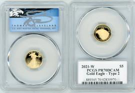 2021-W $5 Proof Gold Eagle PR70DCAM PCGS Type 2 Thomas Cleveland blue eagle