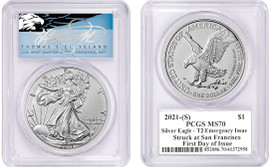 2021-(S) ASE MS70 PCGS T2 Emergency Issue Struck at San Francisco FDOI T. Cleveland blue eagle
