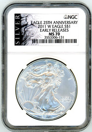 2011 W ASE MS70 NGC Early Releases Eagle 25th Anniversary Silver label