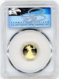 2021-W $5 Gold Eagle PR70 PCGS Type 2 T. Cleveland blue eagle