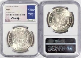 1921 Morgan Dollar MS64 NGC Ed Moy signed