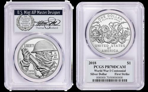 2018-P Sil. Dollar PR70 PCGS WWI Centennial First Strike T. Cleveland Wreath/Vet