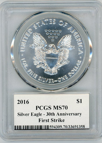 2016-(W) Silver Eagle MS 70 PCGS 30th Anniversary First Strike West Point Mercanti Signed