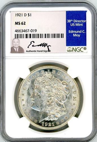 1921 D Morgan Dollar MS62 NGC Ed Moy