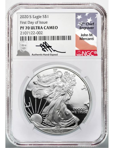 2020 S $1 1 OZ Proof Silver Eagle PF70 NGC FDOI J Mercanti