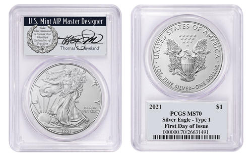 2021 $1 Silver Eagle MS70 PCGS Type 1 FDOI T. Cleveland wreath