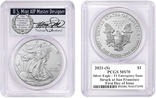 2021-(S) ASE MS70 PCGS T1 Emergency Issue Struck at San Francisco FDOI T. Cleveland Wreath