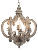 "20.5""x18""x24"" Crown Wood-Metal Chandelier"