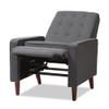 Baxton Studio Mathias Mid-century Modern Grey Fabric Upholstered Lounge Chair