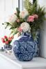 10'' Ceramic Blue White Flower Jar With Lid
