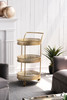 "25x18x37.5"" Urban Vogue Round Bar Cart,Gold"
