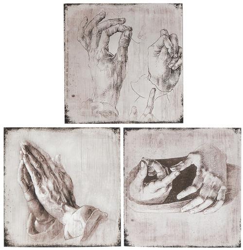 """Antiqued Wood Wall Art Hand Studies 12X12""""Set Of 3"""