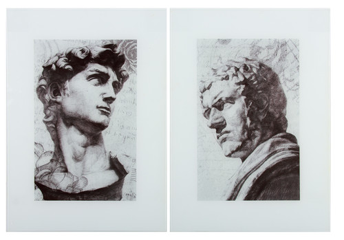 "Classic Figure Printed Glass Wall Art 22"" Set Of 2"