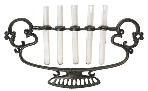 """Glass 5 Tube Bud Vase With Metal Stand 17X1.5X9"""""""