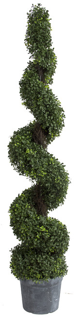 Artificial Spiral Boxwood Topiary Tree Plant, 60""