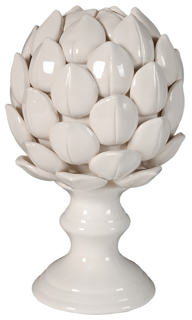 Ceramic Artichoke Statue Finial White