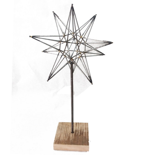 Metal Star Sculpture on Stand