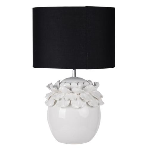 "Keene Ceramic Table Lamp With Black Shade 14""X23"""
