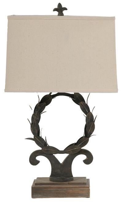 "Metal Table Lamp Ornate Leaves Design 26"""