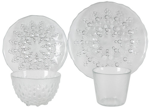 Lot Of 2 Clear Glass Dinnerware Plate Bowl Cup Set Of 4