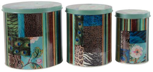 Tin Metal Boxes With Lid Bird I, 3-Piece Set